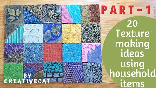 20 Texture Making Ideas using household items ( Part 1), Mural art, Mixed media art, art and craft