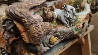 "Chainsaw Carving Fireplace Mantle ""reunited"""