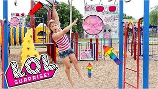 LOL Surprise BIGGIE PETS Scavenger Hunt For LOL Dolls At The Outdoor Playground PARK with Kids!