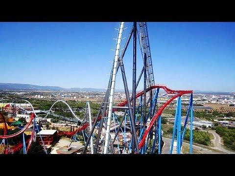 Shambhala front seat on-ride HD POV PortAventura Park