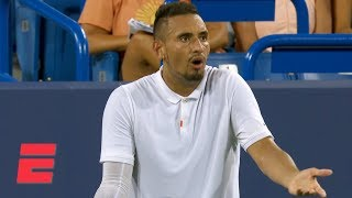 Nick kyrgios continues his feud with chair umpire fergus murphy by verbally attacking the ref and smashing two rackets after requesting a bathroom break ...