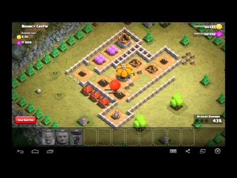 Bouncy Castle - Town Hall Level 4 - 30 Barbarians, 6 Giants, 1 Balloon - Simple Clash of Clans