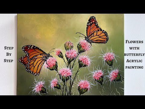 Flowers With Butterflies STEP By STEP Acrylic Painting (ColorByFeliks)