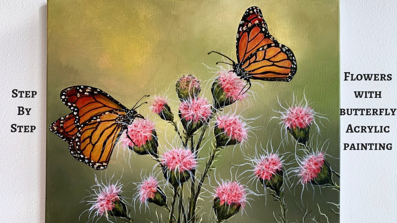 Flowers With Butterflies STEP By STEP Acrylic Painting