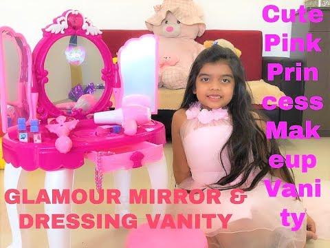 Cute Pink Princess Makeup vanity | Glamour Mirror & Dressing Table | Disney Princess | Monal's World