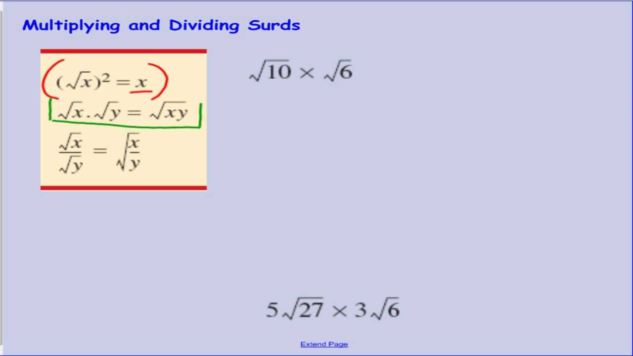 Surds Lesson 3 Multiplying And Dividing Surds4 Youtube