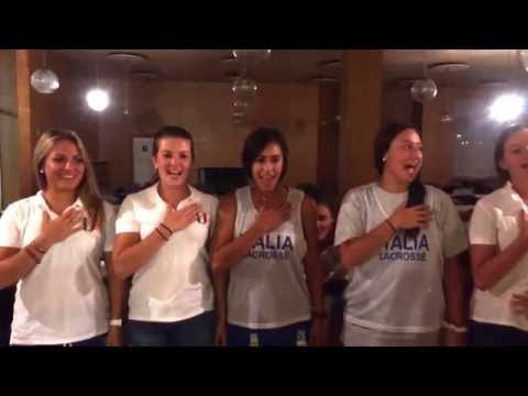 Italian American National Lacrosse Players Singing L'Inno Nazionale!