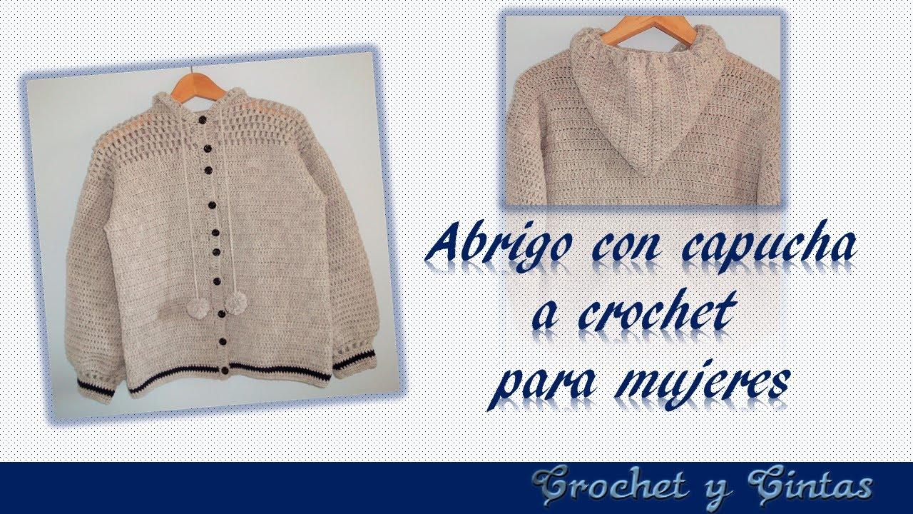 DIY ♥ Abrigo con capucha para mujeres tejido a crochet con punto ...