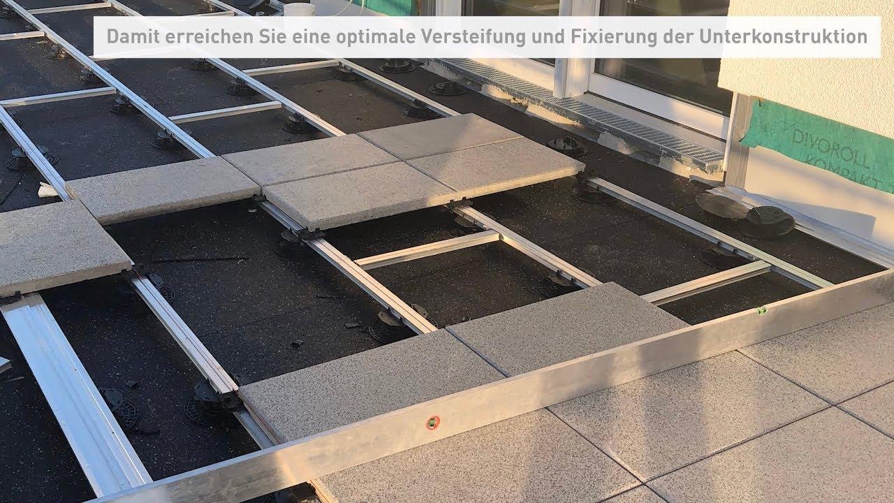 ECOFIX Aluminium Unterkonstruktion für Terrassen Platten oder Dielen  Dachterrassen montieren