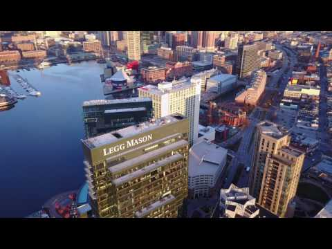 Drone Explores Baltimore's Inner Harbor (4k)