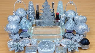 Silver Glitter Slime  Season Glitter  Mixing makeup and glitter into Clear Slime