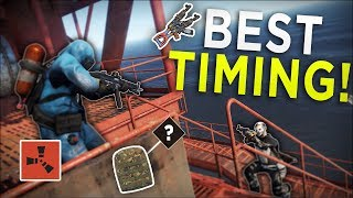 TAKING OVER the OIL RIG at the LUCKIEST TIME POSSIBLE! - Rust Solo Survival #4