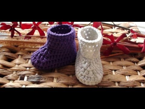 How To Crochet Newborn Booties 1st Round Crochet Baby Booties