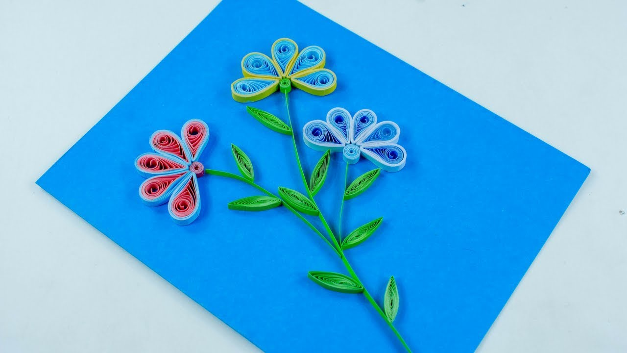 how to make beautiful flower greeting card for kids