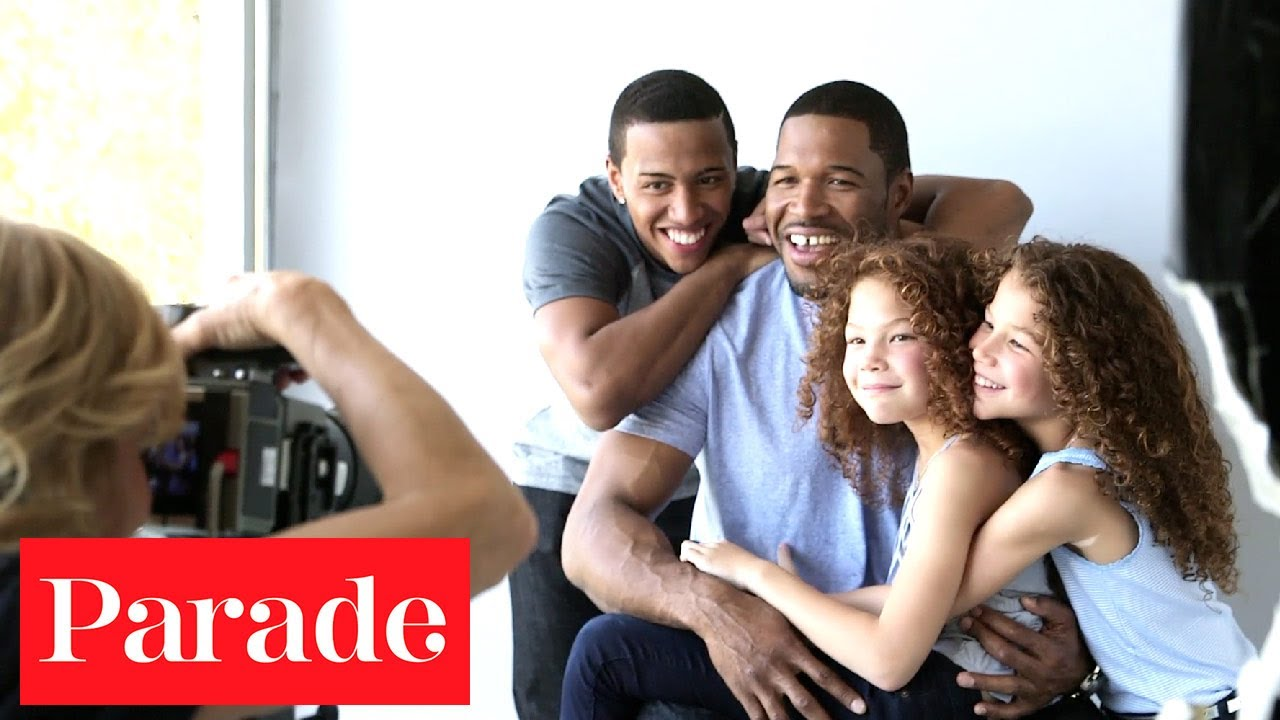 Michael Strahan with his youngest children, Michael Jr., Isabella, and Sophia