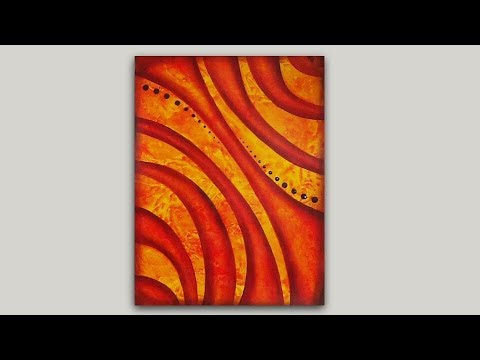 Easy Abstract Painting Created With Acrylic Paint And Plastic Wrap