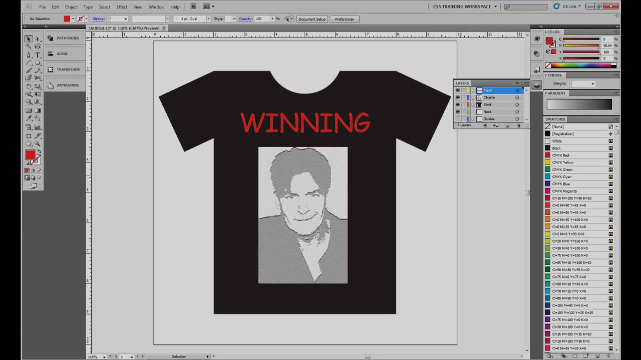 Design t shirt adobe illustrator tutorial - Adobe Illustrator Cs5 Custom Charlie Sheen T Shirt Tutorial