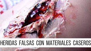 CÓMO HACER HERIDAS FALSAS CON MATERIALES CASEROS | Halloween | Laucacau