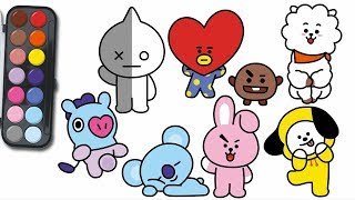 how to draw bt21 | bt21 그리기 | learn Coloring for Kids