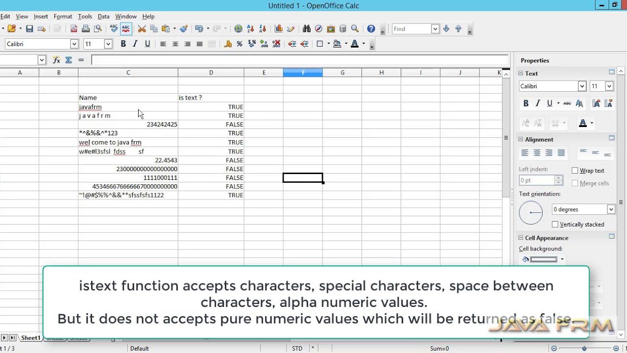 Apache OpenOffice Calc Tutorial - istext Function | Apache OpenOffice 4 Calc