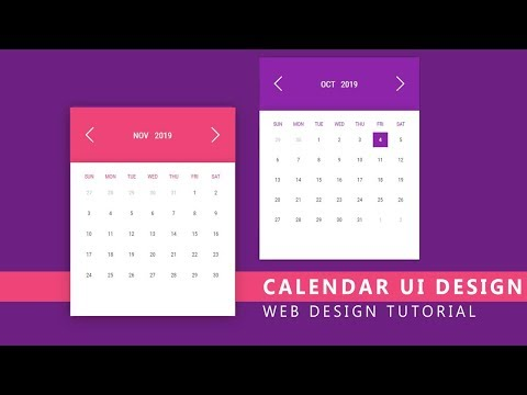 Learn Calendar UI Design Using Html And CSS 3 - Web Design