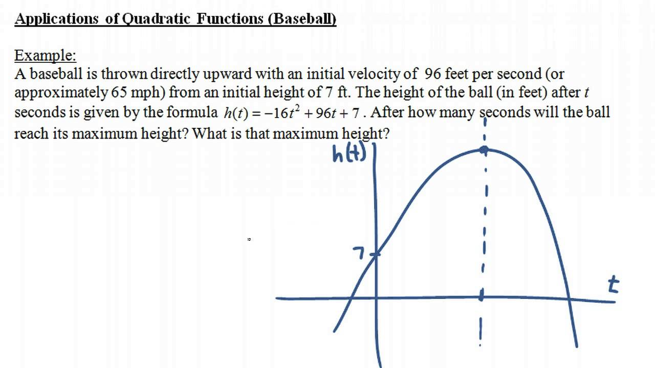 Applications of Quadratic Functions (Baseball) - YouTube Quadratic Function In Real Life Situation