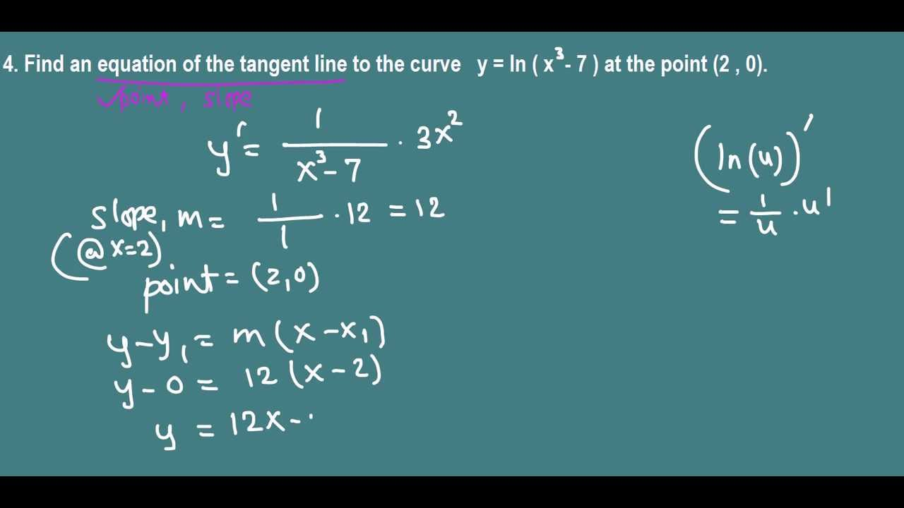 equation of tangent line to a logarithmic curve