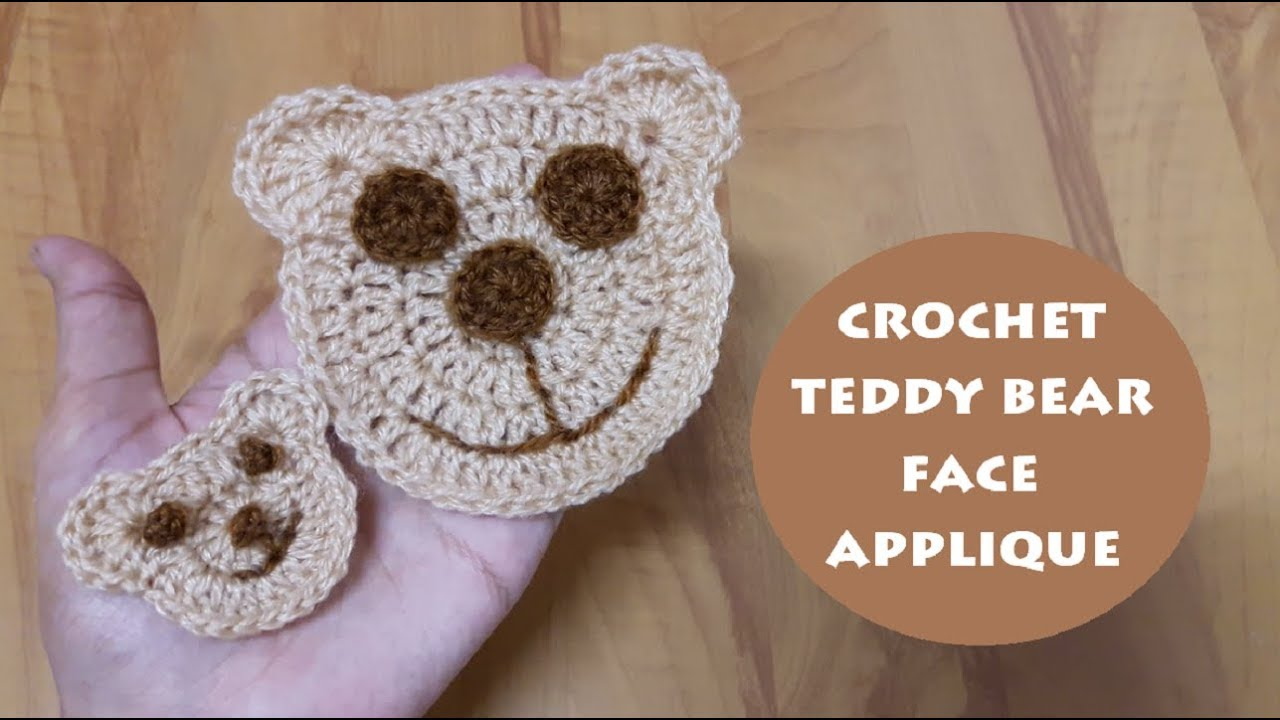 0a9c8a9dc62 How to crochet teddy bear face applique in 2 sizes