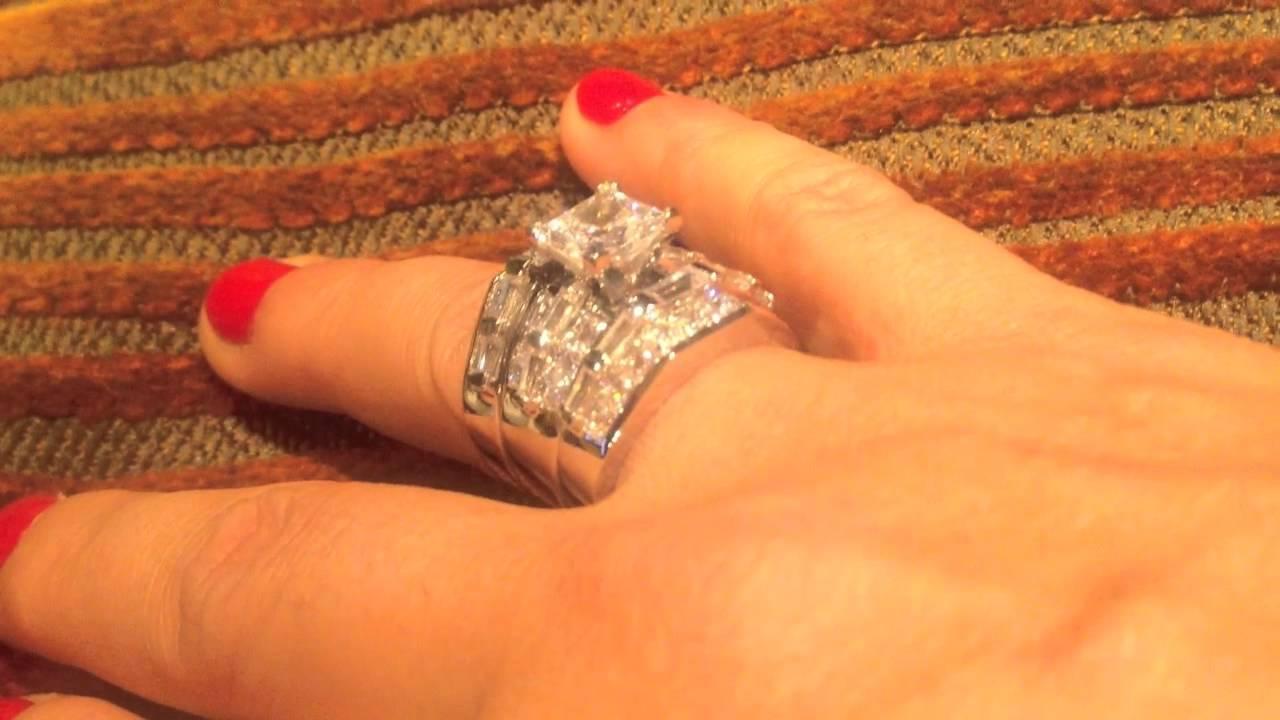 Princess CZ Wide Engagement ring set -MA5148PDB - YouTube