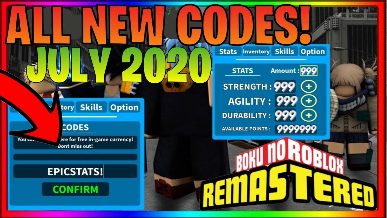 Boku No Roblox Remastered Codes July 2020