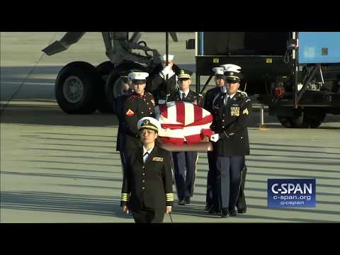 President George H.W. Bush arrives at Joint Base Andrews (C-SPAN)