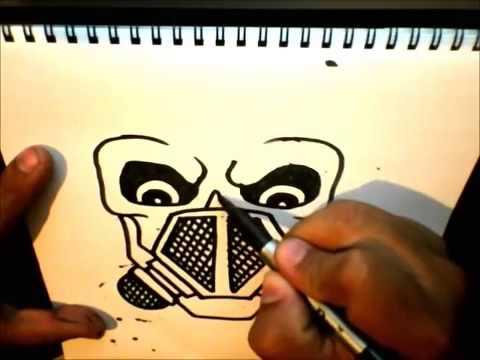 como dibujar una calavera con mascara de gas  YouTube