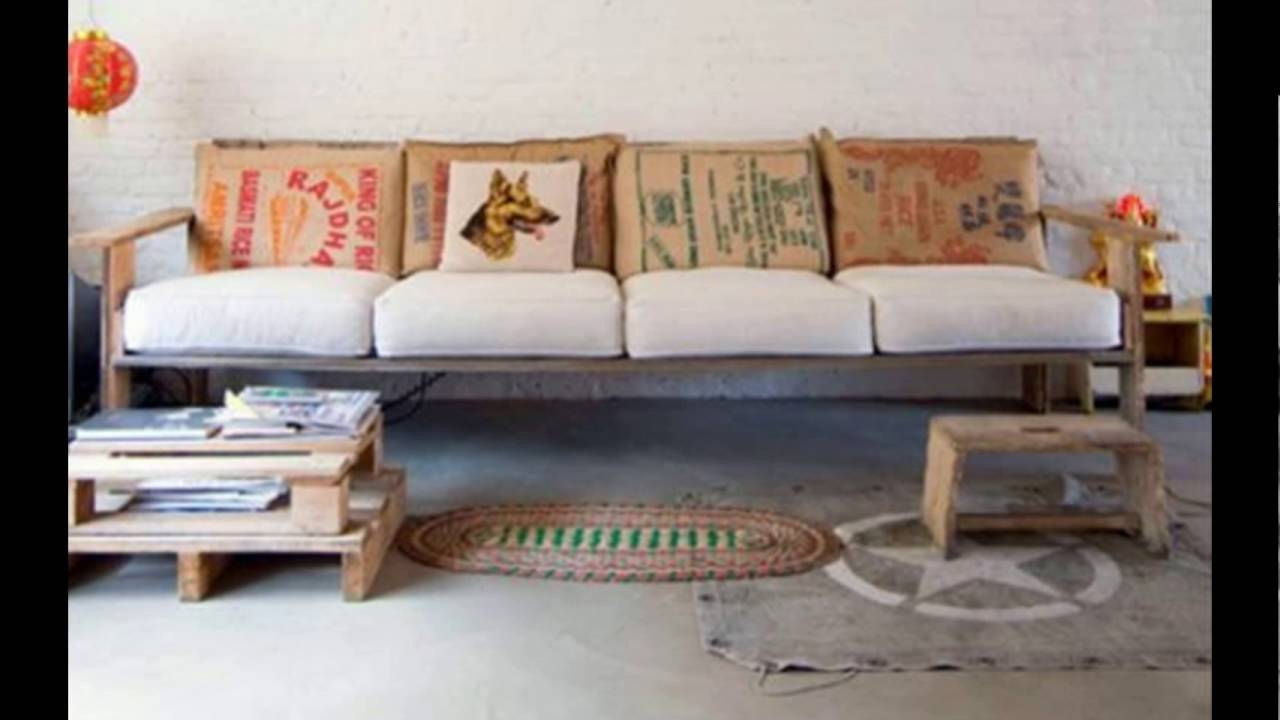 Diy pallet sofa youtube for Make a pallet sofa