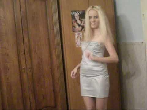 Blonde girl in silver dress
