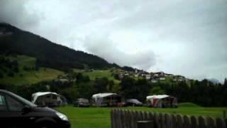 Uitzicht vanaf camping Grosswalsertal in Raggal Voralberg Oostenrijk juni 2010