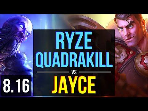 RYZE vs JAYCE (MID) ~ Quadrakill, KDA 12/0/7, Legendary ~ Korea Challenger ~ Patch 8.16