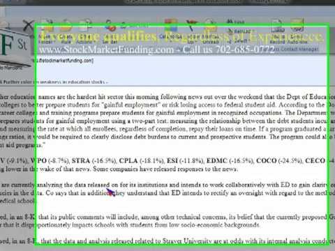 Educational Stocks Drop in Power-House Education Stocks CPLA, STRA, DV, ESI, WPO, EDU