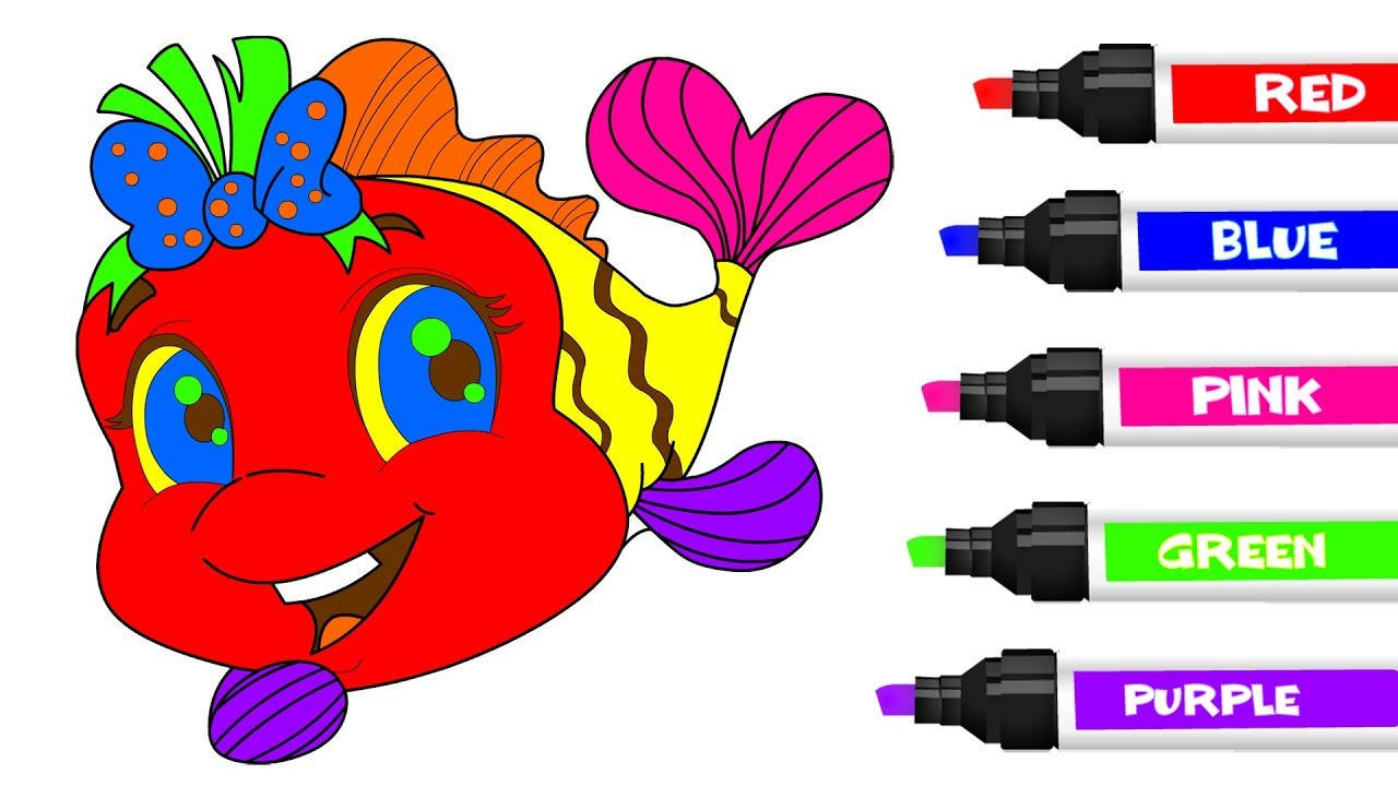 How To Draw Fish Coloring Pages For Kids Children Toddlers – Learn ...