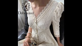Женское винтажное кружевное платье dabuwawa элегантное однобортное с пышными рукавами и v образным