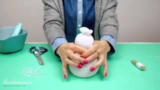 Sněhulák z ponožky (Sock snowman) - Výplň rýží (Fill rice)