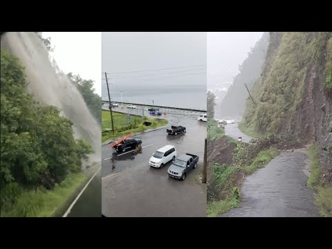 FLOODING ALL OVER DOMINICA TODAY: MASSIVE WATERFALLS AND LAN