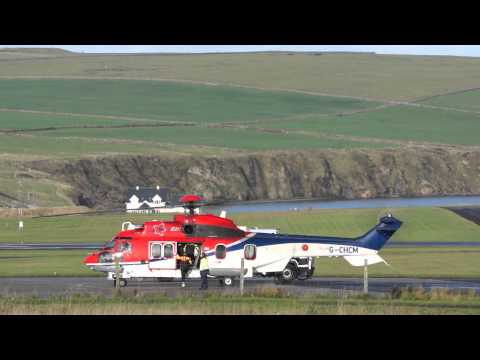 Hard life of Helicopter Pilots, carrying workers to North Sea Oil Platforms, Kirkwall, Orkney