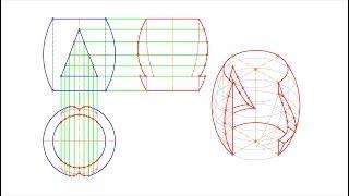 Начертательная геометрия. Двойное проницание. Часть 1. Построение трёх проекций