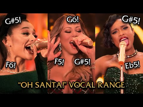 "Mariah Carey, Ariana Grande, Jennifer Hudson ""Oh Santa!"" VOCAL SHOWCASE (B♭2-G#5-G#6)"