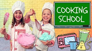 Addy and Maya Take A Cooking Class at Toy School