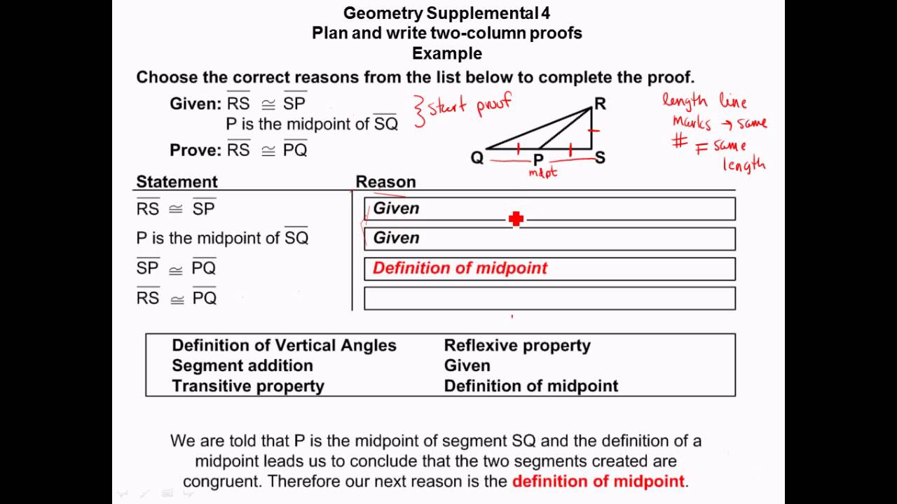 Geometry Plan and Write Two Column Proofs angle and ...