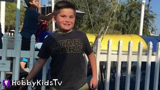 VACATION! Bungee Jumpoline + Paddle Boats n  Ferris Wheel Family Fun. Toys n  Train Ride HobbyKidsTV
