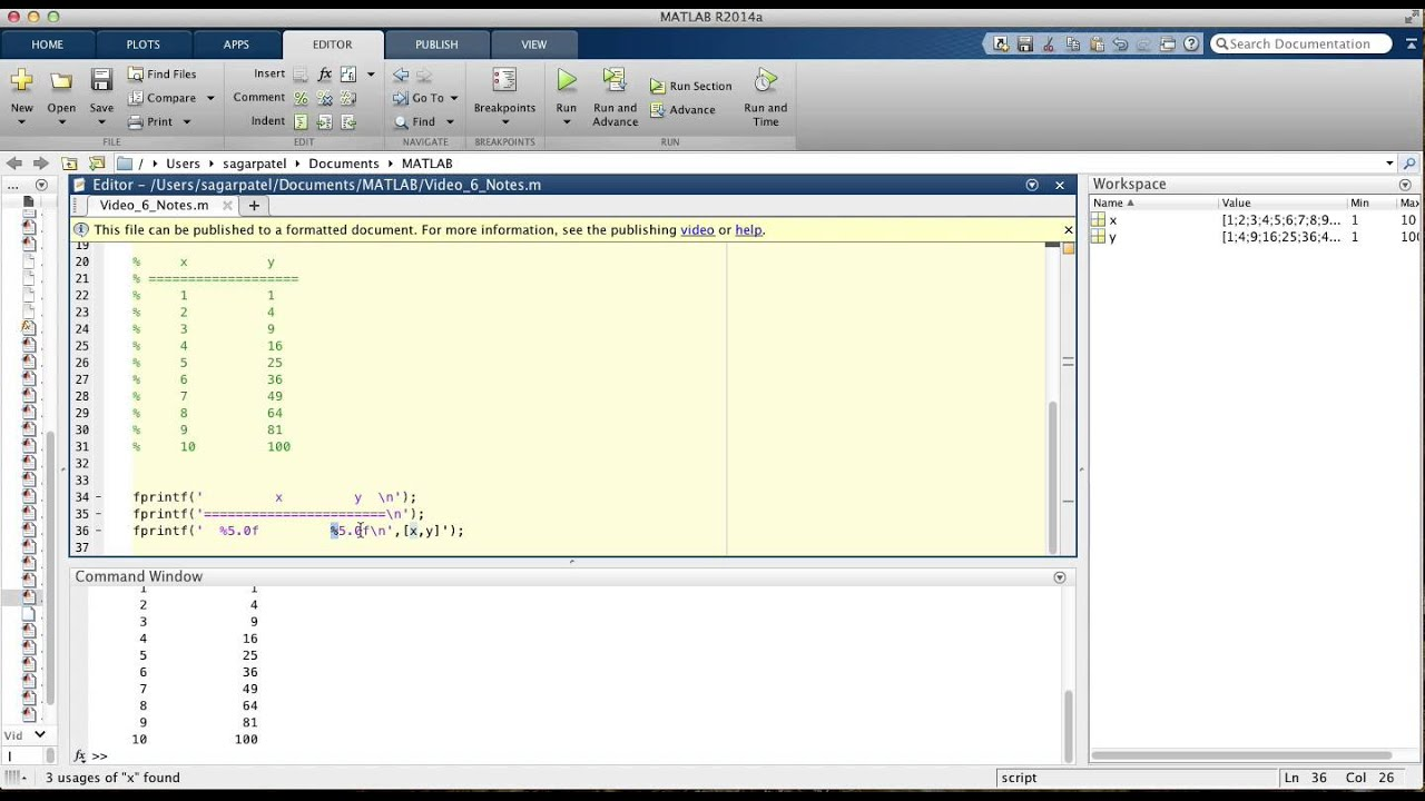 MATLAB Video 6: The fprintf function - YouTube