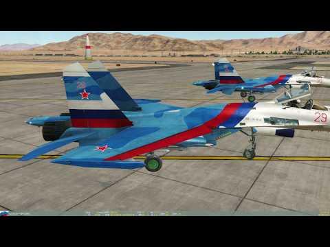 VAT SkyLine - пилотаж на Неваде тройкой Су-27, от левого ведомого