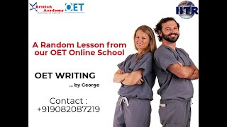 OET 2.0 Writing lesson by George. A Random Lesson from our online OET School